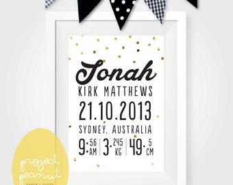 Personalised Birth Announcement Wall Art Printable, Wall Art Wall Decor for Kid's Nursery or Playroom. Personalised Gift Nursery Decor.