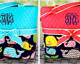 Monogrammed Whimsical Whale DIaper Bag