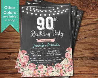 90 birthday invitation for girl, woman. Elegant pink floral chalkboard feminine 30th 40th 50th 60th printable digital birthday invite. AB110