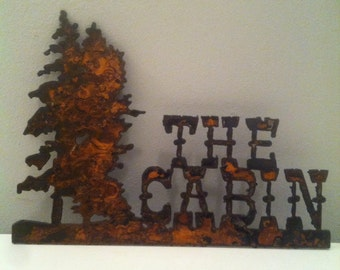 Rustic metal cabin sign wall decoration