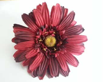 Dark Red Hair Flower- Dark Red Flower- Hair Flower- Rockabilly- Rockabilly Hair Flower- Red Hair Flower