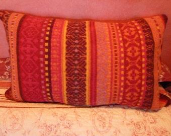 Orange rose jacquard cushion