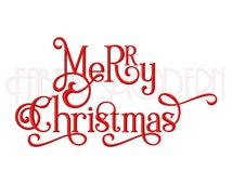 MERRY CHRISTMAS Machine Embroidery Design,  fancy typography in multiple sizes, #550