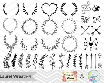 Digital Laurel Wreath Leaf Clipart, Laurel Wreath Clip Art, Leaf Laurel Branches, hand drawn black wreath, black laurel branches, 00159