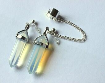 Opalite Crystal Ear Cuff Wrap, Opalite Earrings, Crystal Earrings, Non Pierced Ear Cuff, Opalite Earrings, Opalite Crystal, Dangle Earrings