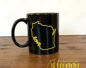 Wisconsin Mug, Wisconsin Pride Mug, State Mug, Wisconsin Outline, Mug, Wisconsin Love Mug, Wisconsin, Wisconsin Love, State Outline Mug