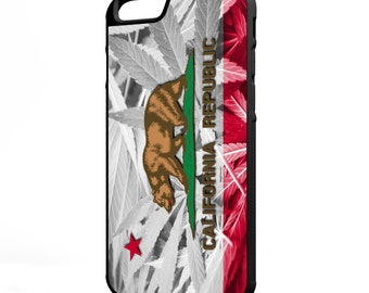 California Weed Flag iPhone Galaxy Note LG HTC Hybrid Rubber Protective Case