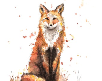 Fox Watercolor Print on Canvas or Watercolor Paper
