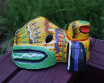 Fab Hand Painted, Hand Carved Wood Dog Mask From Honduras