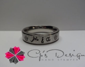 Hand stamped Stainless Steel Name Ring with Paw Prints, 6mm comfort fit band, Sizes 3-16, 2 different styles to choose from