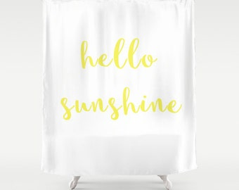 Shower Curtain - Hello Sunshine - Hello Sunshine Shower Curtain - Yellow Shower Curtain - Teen Shower Curtain - Girls Shower Curtain - Dorm