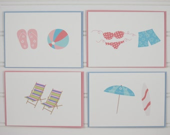 Beach Notecards, Custom Notecards, Summer Vacation Beach Card, Personalized Notecards, Set of 4 Beach Note Cards, Mother's Day Gift for Her
