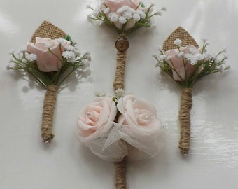 Rose and burlap vintage style groomsmen buttonhole boutonniere