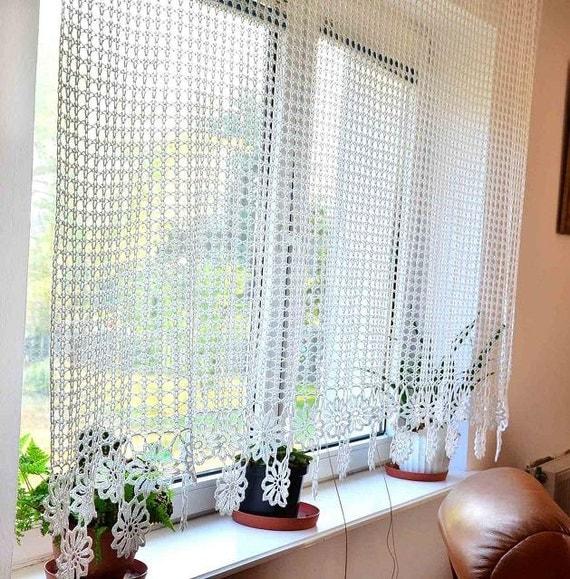 Items Similar To Curtain Crocheted Curtain Crochet Curtain