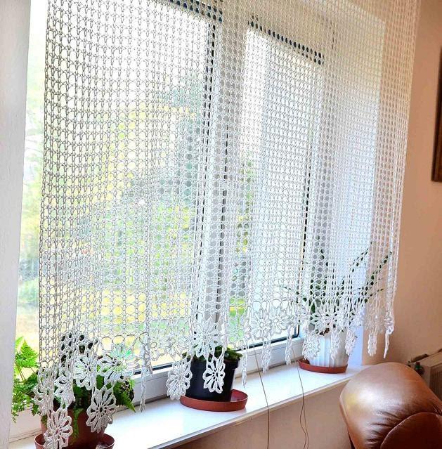 curtain crocheted curtain crochet curtain by katescrochetwork. Black Bedroom Furniture Sets. Home Design Ideas