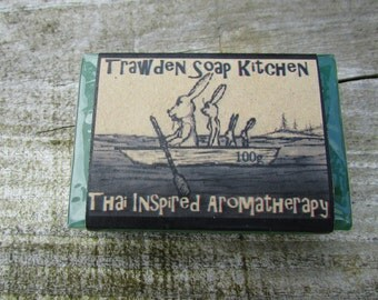 Handmade Organic Glycerin Soap, fragranced with Thai inspired essential oils of Lemongrass, Ginger  Lime insect repellant paraben sls free .