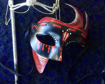 His and Hers Pinstriped Masquerade Masks