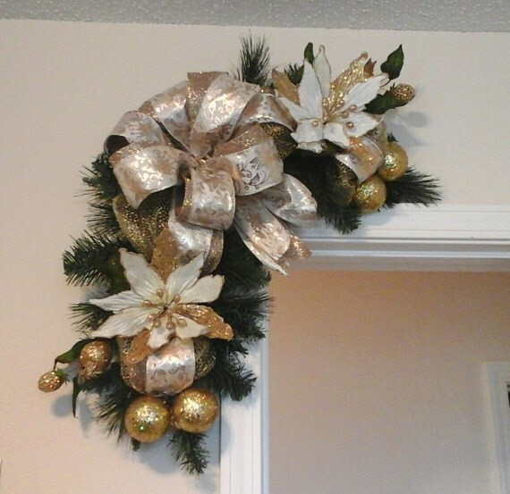 Christmas swagsale corner door wreath by giftsbywhatabeautifu for Elegant christmas decorations for sale