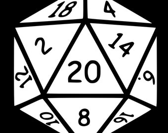 20 Sided Dice Vinyl Decal Sticker - Various Colors & Sizes