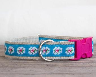 Floral hemp dog collar, Blue dog collar, metal buckle, Roses