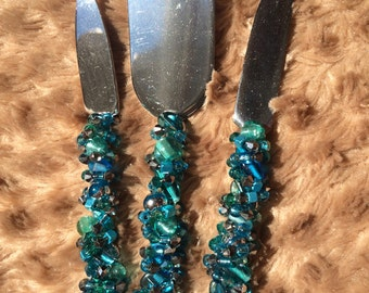 3 Piece Cheese/Appetizer Set in Greens and Blues and Silver Swarovski Crystals