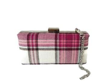 Fyvie Magenta Tartan Clutch Purse / Bag/ Made in Scotland for Ceilidh / Wedding or Special Occasion Clan Fyvie / Fyvey / Fivey / Fify / Fyve