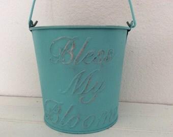 Metal Garden Bucket Pail - Shabby Cottage Chic - Distressed Turquoise - Garden Decor -  Porch Patio - Centerpiece -Wedding - Robins Rgg Blue
