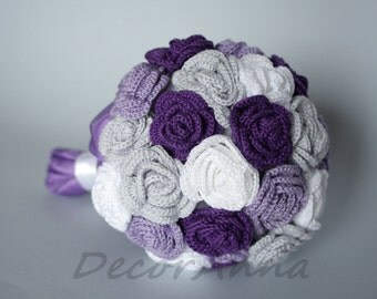 Purple wedding bouquet - fabric flowers