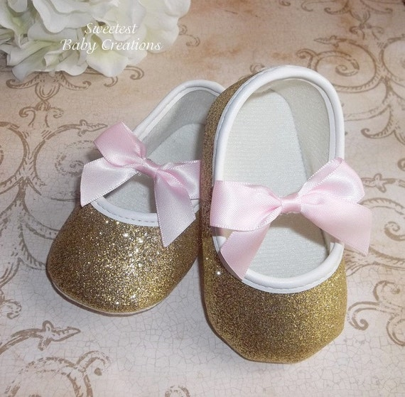 gold baby shoes for pink and gold by