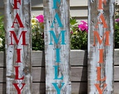 """CHOOSE COLOR Family Wooden Sign, Hanging Wooden Sign, Family Sign, Rustic Family Sign, Peach Red or Teal Family Sign 23.5"""" x 5.5"""""""