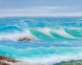 Sea wave Painting Original Pastel Drawing seascape painting home decor interior design interior decorating