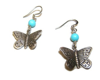 Insect Jewelry, Butterfly Earring, Earrings, Fashion Jewelry, Accessories, Silver, Antique Finish, Turquoise Bead, Free Shipping*, #80022-1,