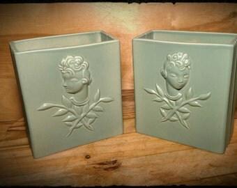 Antique Vallerie Wieselthier Teal Vases By General Ceramics / Flower Vases / Mantlepiece /Housewarming Gift / Best Gift Idea/ F1136