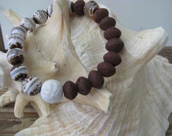 Agate stack bracelet, stone bead stretch bracelet, gemstone stack, sterling silver, earth tone stone bracelet, bohemian layering bracelet