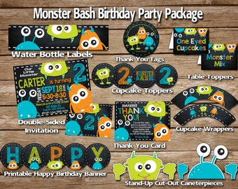 SALE***** monster birthday party package, monster party package, monster party, monster invitation, Monster Bash Printable party package