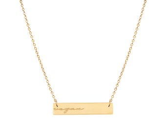 """Reversible Engraved """"Vegan"""" Bar Necklace [Minimal, Thin, Dainty, Valentine's gift, Christmas gift, Vegan Jewelry, Gifts, Delicate, Simple]"""