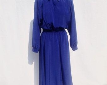 Vintage colbalt blue dress - 1980s