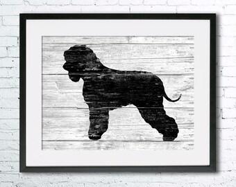 Irish Water Spaniel  art illustration print, Irish Water Spaniel  painting ,dog illustration, Wall art, Rustic Wood art, Animal silhouette