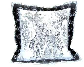 Ivory white pillow sham – 18x18 pillow cover – Black Victorian lace cushion cover – Toile de jouy throw – French Provencal accent room decor