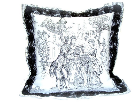 Ivory Lace Throw Pillow : Ivory white pillow sham 18x18 pillow cover Black Victorian