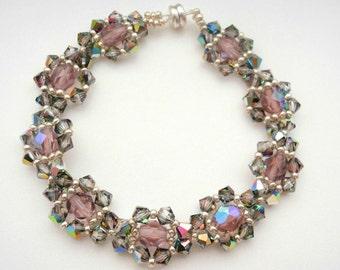 Amethyst Crystal Beaded Bracelet, Amethyst Crystal Bracelet, Amethyst Beadwoven Bracelet, Crystal Woven Bracelet,Feminine Bracelet