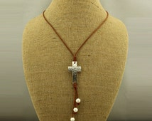 Personalized hammered Cross Necklace with brown cord.white pearl necklace, Handmade Cross. Women's Cross pendant - ETS-S318