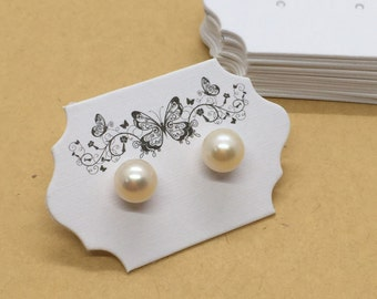 50Pcs 600gsm Cardstock Elegant Butterfly Earring Display Card, Studs Card, Jewelry Display