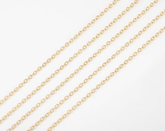 Chain, Cable Chains Jewelry Supplies, Craft Supplies, Flat Cable Chain 1.4mm x 1.7mm, Polished Gold Plated over Brass/ 1 Meter -[CH230SF-PG]