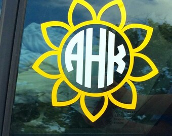 Sunflower Monogram Car Decal | Car Sticker | OnSkinkerLane