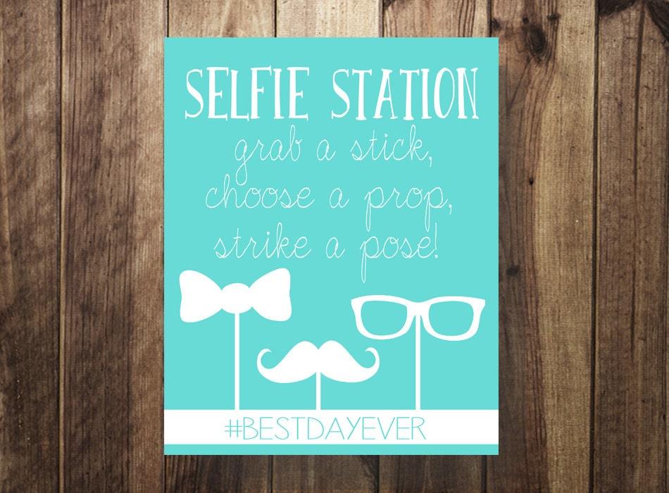 custom color hashtag selfie station sign selfie stick grab a. Black Bedroom Furniture Sets. Home Design Ideas