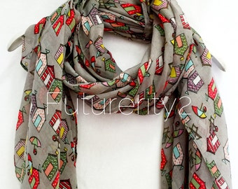 Beach Huts Grey Spring Summer Scarf / Autumn Scarf / Fashion Accessories / Gifts For Her / Women Scarves