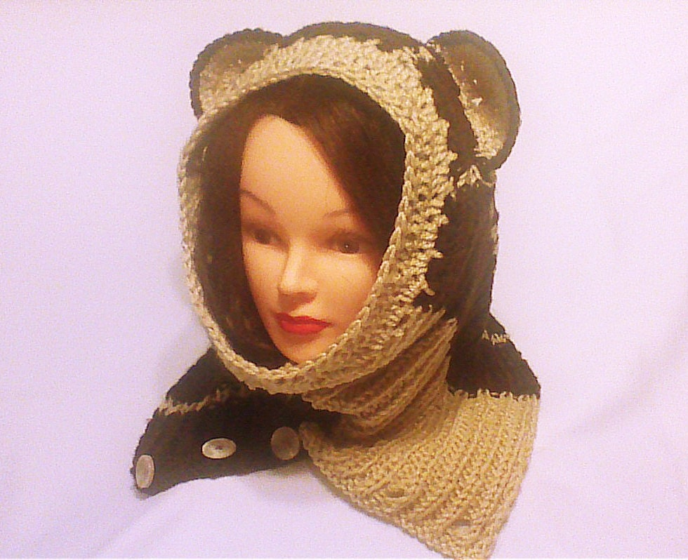 Knitting Pattern For Hood With Ears : Brown cowl hood knit hoodie scarf hood with ears by ...