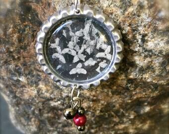 Beaded Flower Bottlecap Necklace, OOAK