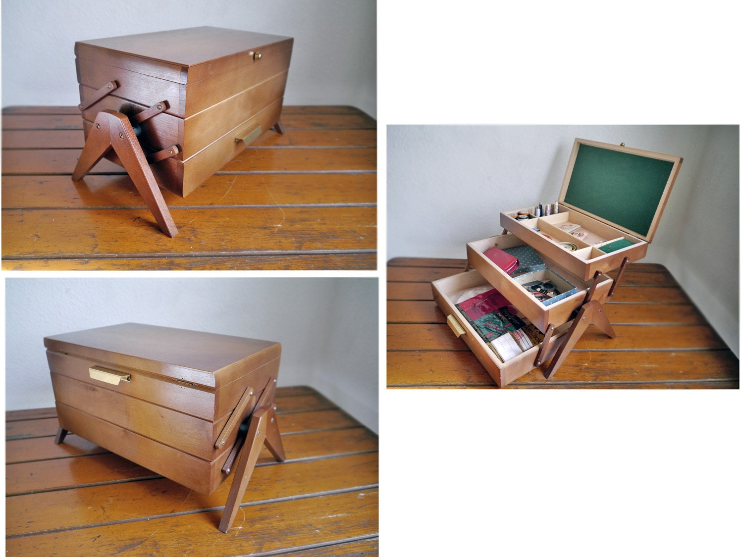 Vintage Sewing Basket Accordion Cabinet Box On Legs Wooden Space Age Furniture Mid Century Modern Jewelry Organizer Folding Cabinet Haute Juice